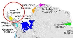 Huge iceberg of Antarctic close to break away