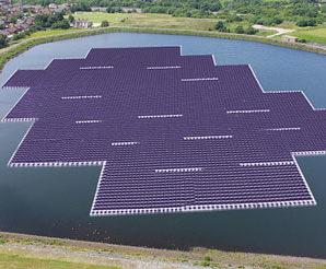 Floating solar power system in Maduru Oya